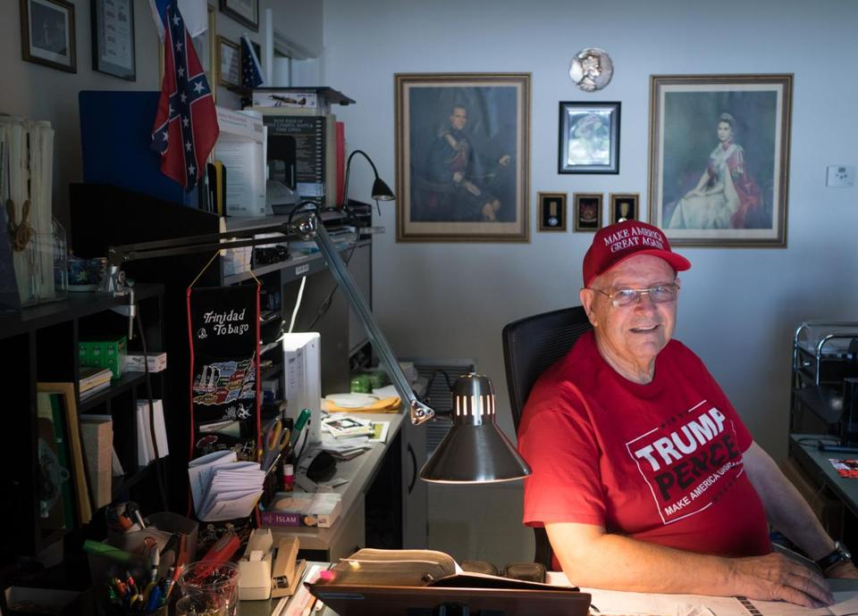 Ted Seymour, a 77-year-old Donald Trump supporter, in his Boca Raton home. He believed that a local Islamic center had connections with extremism.